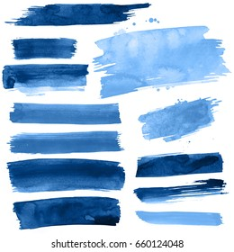 Blue watercolor paint strokes on a white background