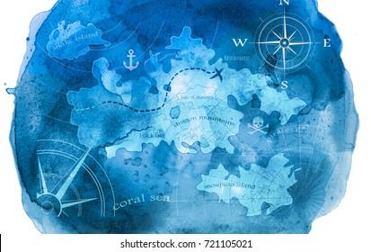 blue watercolor pirate treasure map illustration