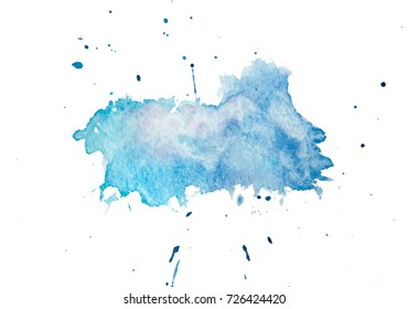 Blue watercolor splash print. Isolated on white background
