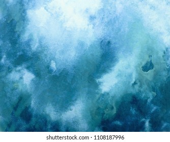 blue watercolor splash stroke background. by drawing