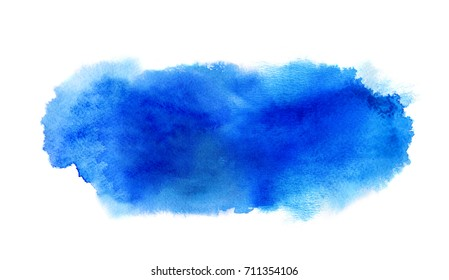 Blue watercolor stain with watercolor paint blotch and brush stroke