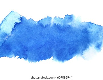 Blue watercolour stripe. Abstract background. Space for your text