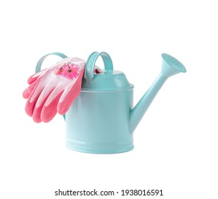 Blue watering pot and gloves isolated on white background. Gardening equipment.