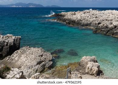 Blue waters of Alaties Beach, Kefalonia, Ionian islands, Greece