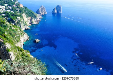 The Blue Waters of Capri, Italy view from Belvedere of Punta Cannone