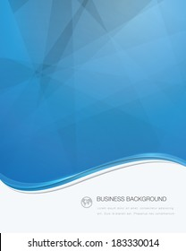 Blue wave business brochure template with white text area (jpg version)