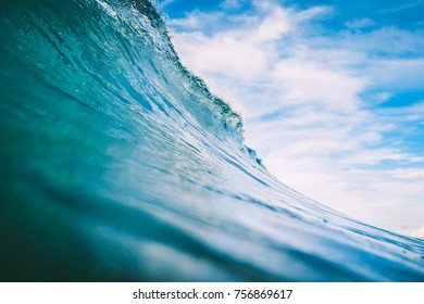 Blue wave in ocean. Big wave for surfing
