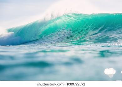 Blue wave in ocean. Breaking big wave in Hawaii