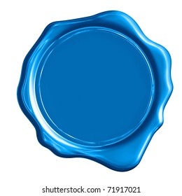 Blue wax stamp on a white background