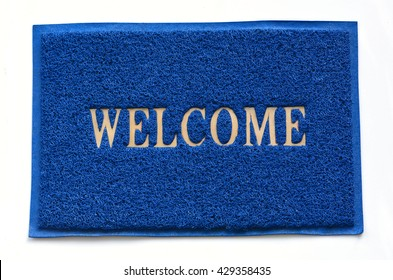 Blue welcome carpet
