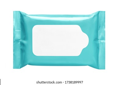 Blue wet wipes flow pack, isolated on white background