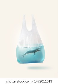 Blue whale  ( toy model)  in a plastic bag.Creative concept background for environmentalism and  plastic awareness.