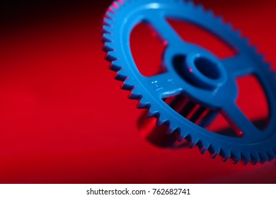 Blue wheel with a red background