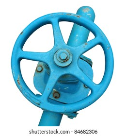 blue wheel valve with pipe (isolated with clipping path)