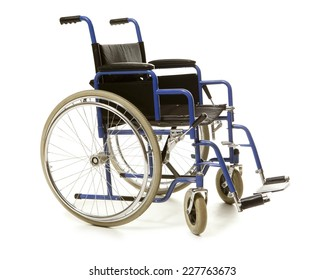 Blue wheelchair isolated on white background