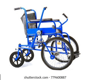 Blue wheelchair on white background