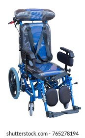 blue wheelchair on white with clipping path