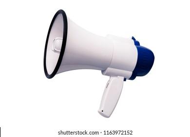 Blue white bullhorn public address megaphone on white background