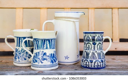 Blue and white ceramic jugs from Transylvania