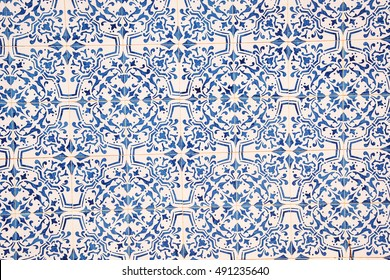 Blue and white ceramic tile pattern. texture background. Sicily, Italy