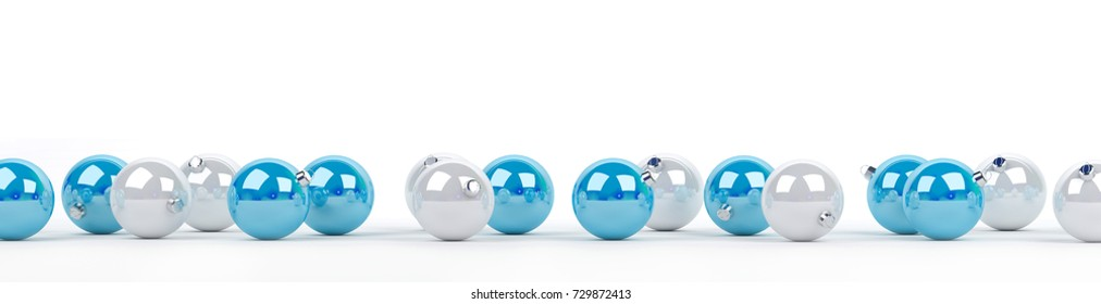 Blue and white christmas baubles lined up on white background 3D rendering