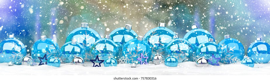 Blue and white christmas baubles lined up on snowy background 3D rendering