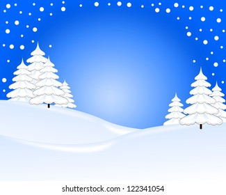 Blue and white christmas card, tree and snow