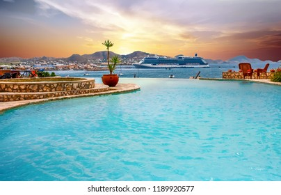 Blue and White Cruise Ship Beyond Tropical Infinity Pool