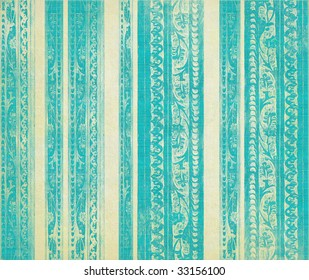 blue and white floral wood carved stripes