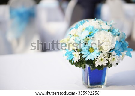 Blue White Flower Centerpiece On Table Stock Photo Edit Now
