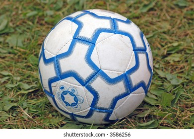 Blue and white football