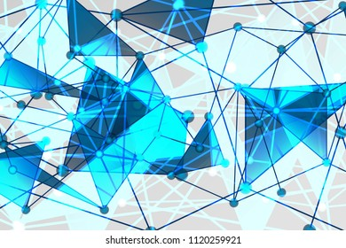Blue and White Geometric Pattern with Triangles. A Three-Dimensional Futuristic Structure. Wicker Abstract Texture. Raster. 3D Illustration