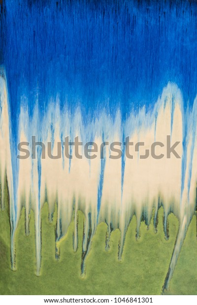 Blue, White, Green Bleeding Colors Painterly Abstract Background, Wallpaper Tie Dye