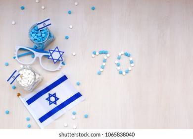 Blue and white items with Israeli flag for independence day celebration