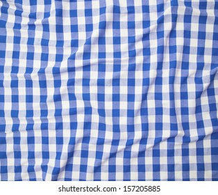 blue and white linen tablecloth