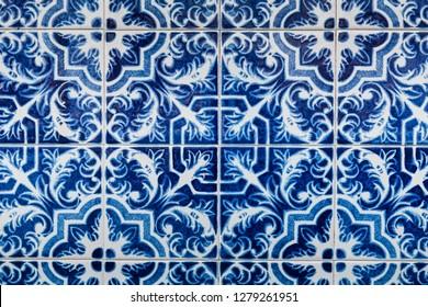 Blue and white ornate Portuguese tiles. Traditional azulejo patterns. Simple mandala ornaments. Vector set of ornamental ceramic tiles in Lisbon style. Decorative maiolica design.