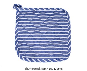 Blue and white oven mitt isolated