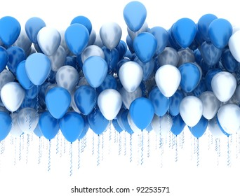 Blue and white party balloons