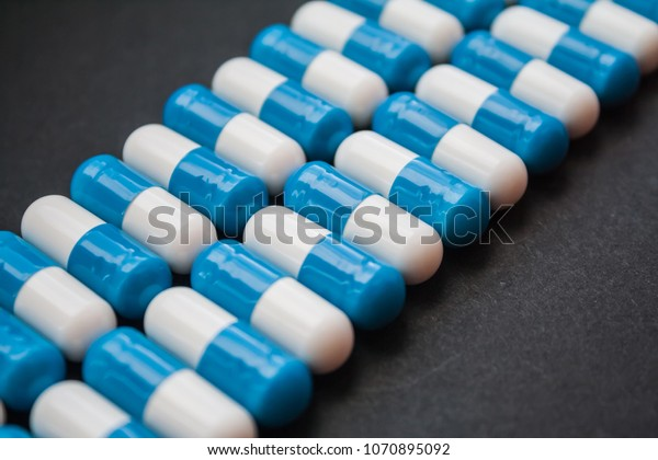 Blue White Pills Capsules Lies Rows Stock Photo Edit Now