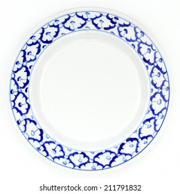 blue and white plate pineapple pattern traditional style of Thailand ceramics