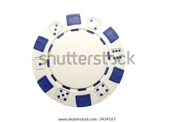 Blue and White Poker Chip