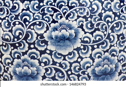 Blue and white porcelain of the flower pattern