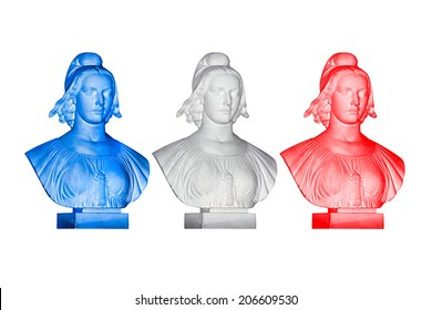Blue white red Marianne statues, french republic symbol