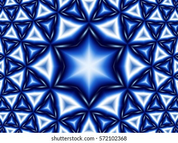 Blue and white Star of David pattern background.