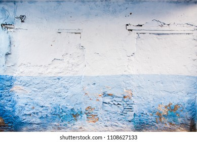 Blue and White Stone Wall, Chefchaouen, Morocco, Medina