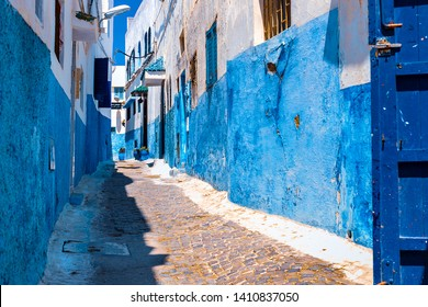 Blue and White Street in the Kasbah of the Udayas in Rabat Morocco, Africa. 22/04/2019