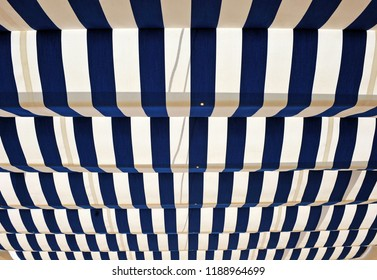 Blue and white striped awning, shade for summer