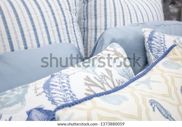 Blue White Themed Bedroom Arrangement Stock Photo (Edit Now ...