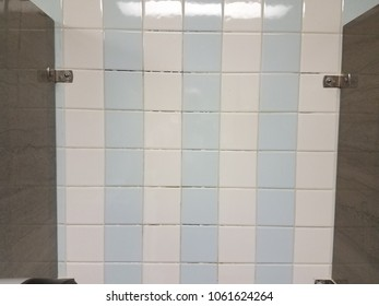 blue and white wall tiles in bathroom stall