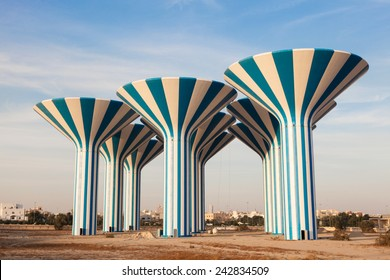 Blue and white water towers in Kuwait, Middle East